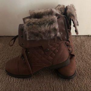 Just Fab Brown Faux Fur Boots Sz 9